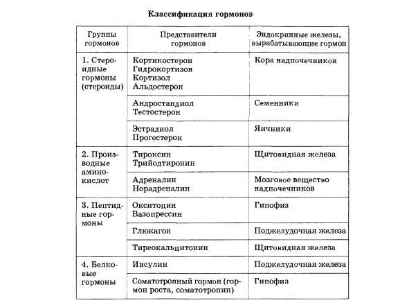 Классификация гормональных препаратов
